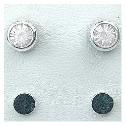 Clear 5mm Diamante Rub Over Stud Magnetic Clip On Earrings