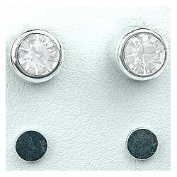 Clear 6mm Diamante Rub Over Stud Magnetic Clip On Earrings