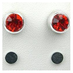 Red 6mm Diamante Rub Over Stud Magnetic Clip On Earrings
