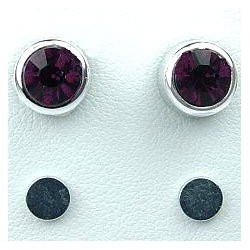 Purple 6mm Diamante Rub Over Stud Magnetic Clip On Earrings