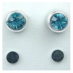 Blue 6mm Diamante Rub Over Stud Magnetic Clip On Earrings
