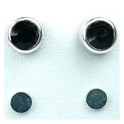 Black 6mm Diamante Rub Over Stud Magnetic Clip On Earrings