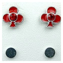 Red Enamel Club Poker Stud Magnetic Clip On Earrings