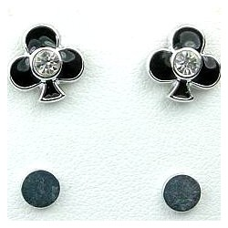 Black Enamel Club Poker Stud Magnetic Clip On Earrings