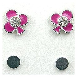 Pink Enamel Club Poker Stud Magnetic Clip On Earrings