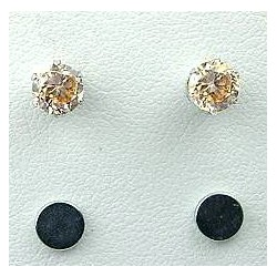 Light Brown Cubic Zirconia 5mm CZ Crystal Stud Magnetic Clip On Earrings