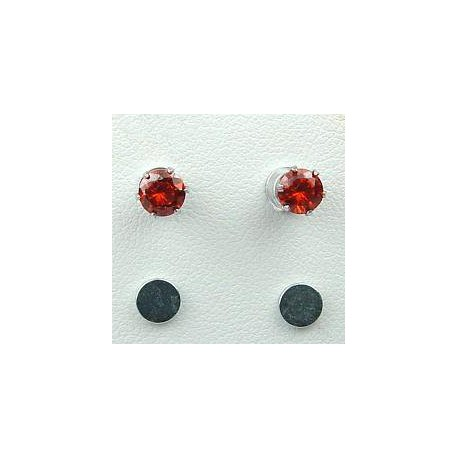 Fashion Women Costume Jewellery, Non-pierced Earring Studs, Red Cubic Zirconia 5mm CZ Crystal Stud Magnetic Clip On Earrings