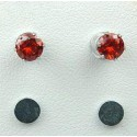 Red Cubic Zirconia 5mm CZ Crystal Stud Magnetic Clip On Earrings