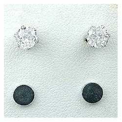 Clear Cubic Zirconia 5mm CZ Crystal Stud Magnetic Clip On Earrings