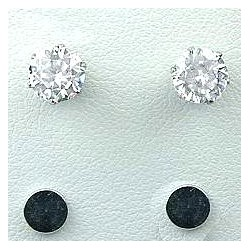 Clear Cubic Zirconia 6mm CZ Crystal Stud Magnetic Clip On Earrings