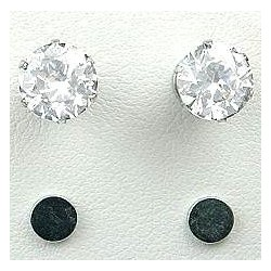 Clear Cubic Zirconia 8mm CZ Crystal Stud Magnetic Clip On Earrings