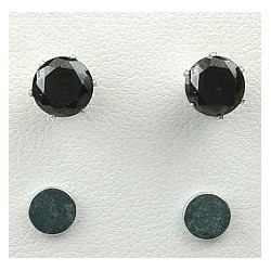 Black Cubic Zirconia 6mm CZ Crystal Stud Magnetic Clip On Earrings