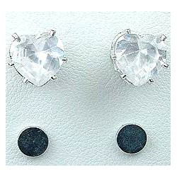 Clear Cubic Zirconia Heart Shaped CZ Crystal Stud Magnetic Clip On Earrings