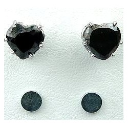 Black Cubic Zirconia Heart Shaped CZ Crystal Stud Magnetic Clip On Earrings