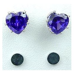Purple Cubic Zirconia Heart Shaped CZ Crystal Stud Magnetic Clip On Earrings