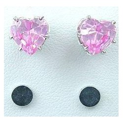 Pink Cubic Zirconia Heart Shaped CZ Crystal Stud Magnetic Clip On Earrings