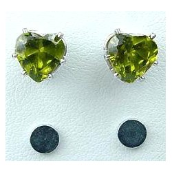 Green Cubic Zirconia Heart Shaped CZ Crystal Stud Magnetic Clip On Earrings