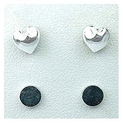 Silver Puffed Heart Stud Magnetic Clip On Earrings