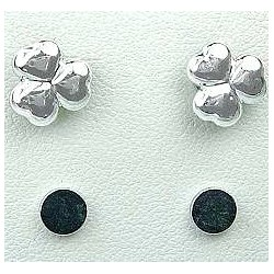 Silver Three Heart Stud Magnetic Clip On Earrings