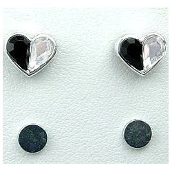 Black & White Rhinestone Heart Stud Magnetic Clip On Earrings