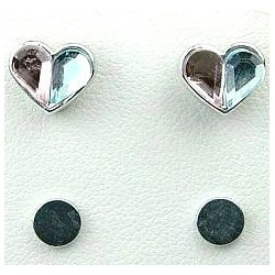 Peach & Blue Rhinestone Heart Stud Magnetic Clip On Earrings