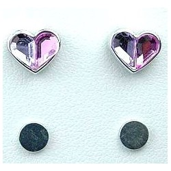 Lilac & Pink Rhinestone Heart Stud Magnetic Clip On Earrings