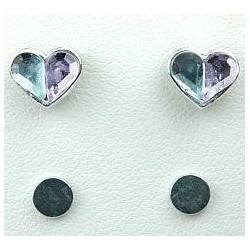 Blue & Purple Rhinestone Heart Stud Magnetic Clip On Earrings