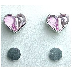 Pink & Soft Pink Rhinestone Heart Stud Magnetic Clip On Earrings