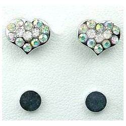 Fashion Young Women, Girls Costume Jewellery, Non-pierced Earring Studs, Clear AB Diamante Heart Stud Magnetic Clip On Earrings