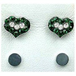 Fashion Women Costume Jewellery, Non-pierced Earring Studs, Green & Clear Diamante Heart Stud Magnetic Clip On Earrings