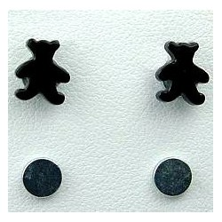 Black Teddy Bear Stud Magnetic Clip On Earrings