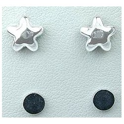 Fashion Young Women, Girls Costume Jewellery, Non-pierced Earring Studs, Silver Puffed Star Stud Magnetic Clip On Earrings