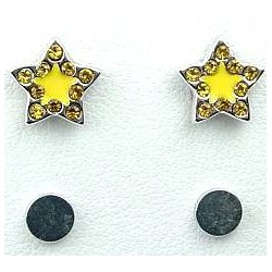 Fashion Young Women, Girls Costume Jewellery, Non-pierced Earring Studs, Yellow Enamel Star Diamante Stud Magnetic Clip On Earri