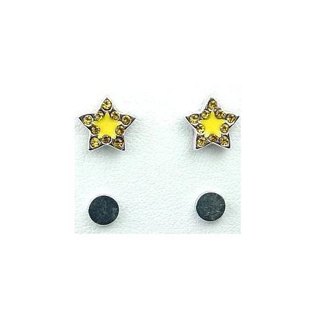 Fashion Young Women, Girls Costume Jewellery, Non-pierced Earring Studs, Yellow Enamel Star Diamante Stud Magnetic Clip On Earri