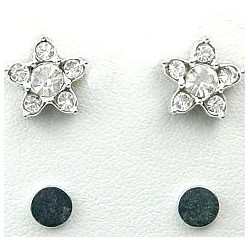 Fashion Young Women, Girls Costume Jewellery, Non-pierced Earring Studs, Clear Diamante Star Stud Magnetic Clip On Earrings