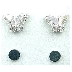 Fashion Young Women, Girls Costume Jewellery, Non-pierced Earring Studs, Clear Diamante Butterfly Stud Magnetic Clip On Earrings