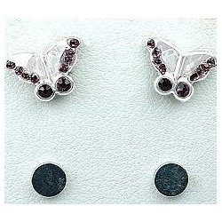 Fashion Young Women, Girls Costume Jewellery, Non-pierced Earring Studs, Purple Diamante Butterfly Stud Magnetic Clip On Earring