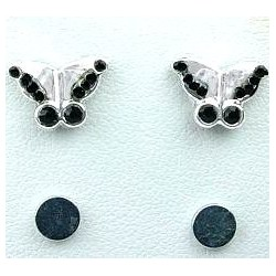 Black Diamante Butterfly Stud Magnetic Clip On Earrings