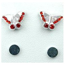 Red Diamante Butterfly Stud Magnetic Clip On Earrings