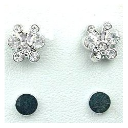Clear Diamante Cute Butterfly Stud Magnetic Clip On Earrings