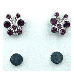 Purple Diamante Cute Butterfly Stud Magnetic Clip On Earrings