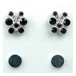 Black Diamante Cute Butterfly Stud Magnetic Clip On Earrings