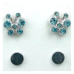 Blue Diamante Cute Butterfly Stud Magnetic Clip On Earrings