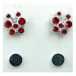 Red Diamante Cute Butterfly Stud Magnetic Clip On Earrings