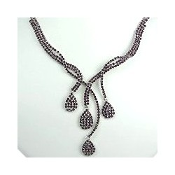 Fsahion Wedding Gift, Bridal Costume Jewellery, Purple Diamante Cascade Teardrop Wave Bib Dress Necklace