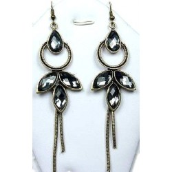 Statement Costume Jewellery, Fashion Women's Gift, Grey Diamante Teardrop Fairy Long Drop Earrings