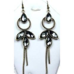 Statement Costume Jewellery, Fashion Women's Gift, Grey Diamante Teardrop Fairy Long Drop Earrings