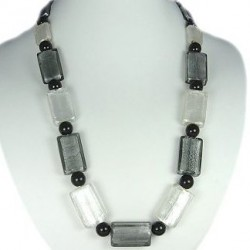 White Monochrome Large Rectangle Glass Bead Long Necklace