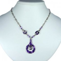 Purple Enamel Circle Drop Chain Fashion Necklace