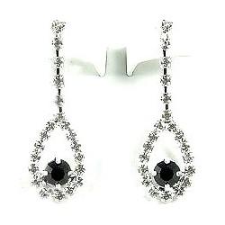 Simple Costume Jewellery, Women Wedding Gift, Clear & Black Diamante Teardrop Dress Drop Earrings